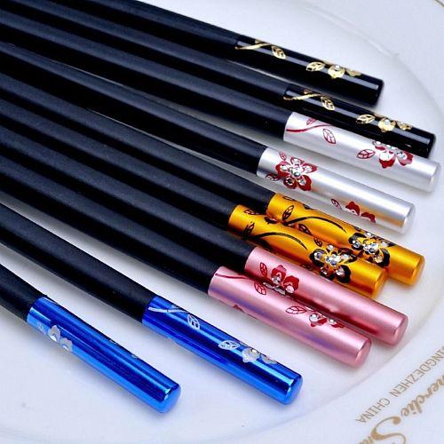 10 Pairs/Set Chinese Metal Chopsticks Non-slip Stainless Steel Chop Sticks Set Reusable Food Sticks Sushi Hashi Baguette