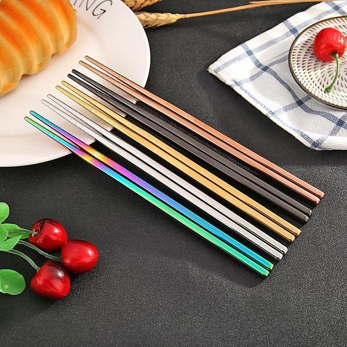 Stainless Steel Chopsticks Metal Chop Sticks Non-slip Food Sticks Black Silver Gold Tableware Dinnerware Wedding Party Supplies