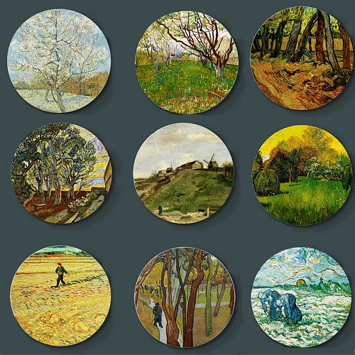 Netherlands Post-impressionism Oil Painting Wall Plate Van Gogh Ceramic Plate Ornaments Wall Decorative Background