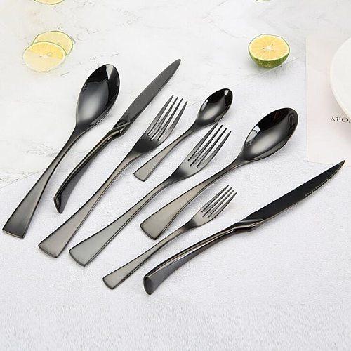 Flawless Shiny Black Dinnerware Cutlery Set 18/10 Stainless Steel Sharp Dinner Knives Forks Scoops Tableware Set Utensils