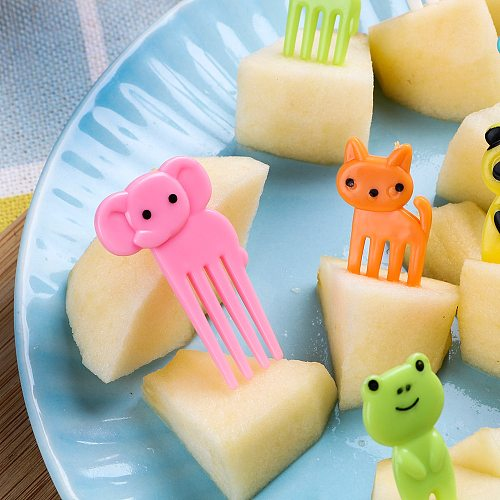 10pcs/pack Cute Animal Farm Fruit Fork Bento Lunches Toothpick Mini Snack Dessert Food Fork for Children Lunches Party Decor