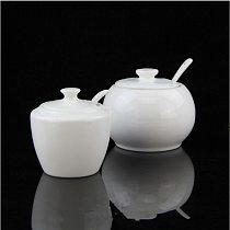 New Arrrival Seasoning Pot White Ceramic Sugar Bowl with ceramic Cover Ceramic Spoon Spice Jar Elegant Designs Kitchen Helper