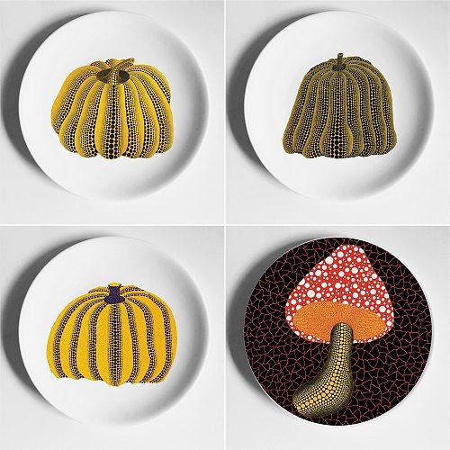 Porcelain Art Japan Kusama Yayoi Pumpkin Plate Wall Decoration Hanging Plate Wall Plate Ceramic Decorative Plate