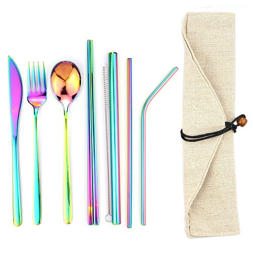 8pcs/Lot Stainless Steel Dinnerware Set Spoon Fork Chopsticks Straw With Cloth Pack Cutlery For Travel Outdoor Office Picnic BBQ