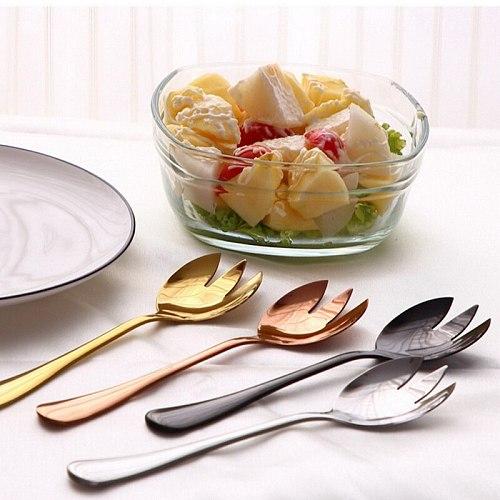 Tablewellware Gold Spoon Set steel cutlery Salad Fork Salad Spoon Stainless Steel Serving Spoon Set Unique Spoons