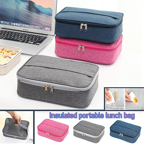 Rectangular Lunch Box Bag Thermal Insulated Lunch Box Tote Cooler Handbag Pouch Lunch Container Food Storage Bags With Bento Bag