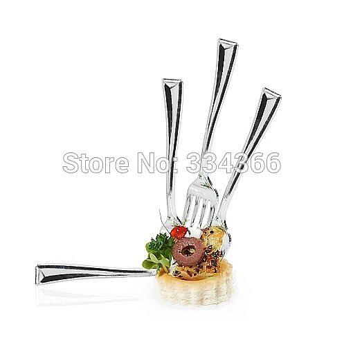 100pcs/Lot 10cm Plastic Dessert Silver Fork Disposable Shiny Fork 3.9  Mini Partyware For Wedding Party Festival