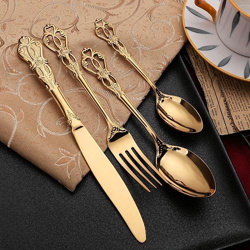 Vintage Western Gold Plated Cutlery  Dining Knives Forks Teaspoons Set Golden Luxury Dinnerware Engraving Tableware Utensils Set