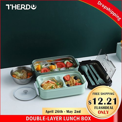 Therdo Dual-Layered Lunch Box Stainless Steel Japan Bento Box Nordic Style Food Container With Portable Tableware Milk Soup Bowl