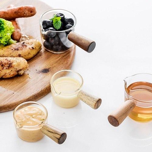 2 Size Mini Milk Pan Single Handle Glass Sauce Baby Cooker Saucepan Small Stewpot Vinegar Plate Gravy Boats With Handle