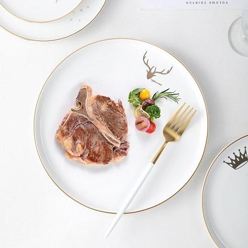Solid Color Plate Sets Creativity Elegant Exquisite Light Luxury Dinner Plate Sets Ceramic Dessert Assiette Tableware DK50PS