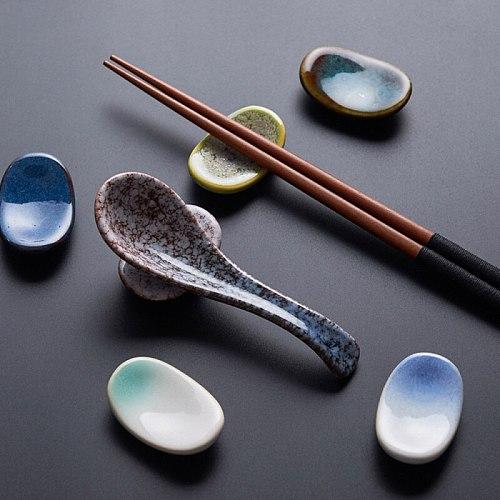 2PCS/lot Vintage Style Ingot Ceramic Chopstick Rest Holder DIY Home Kitchen Decoration Supplies