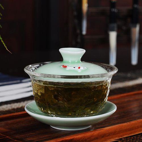 Creative Ceramic glass Gaiwan Porcelain Teaware Sets Teapot Teaset FishTea Cups Of Tureen Ceremony