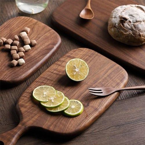 Muso Wood Walnut Wooden Chopping Board Solid Kitchen Cutting Board Whole Wood Bread Tray