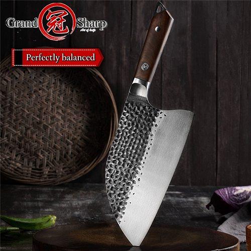 Grandsharp Handmade Forged 5cr15mov Steel Kitchen Knife Cleaver Knife Professional Butcher Knife Chef Knife Chopping Knives