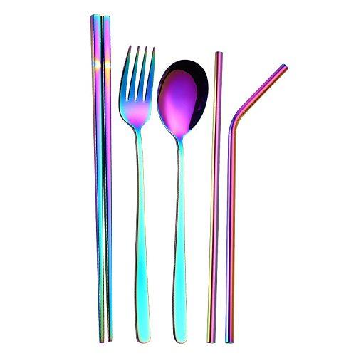 1pcs Stainless Steel Flatware Set Tableware Dinnerware Set Service Knife/Fork/Spoon/Teaspoon/Fruit Fork Rainbow Multicolor