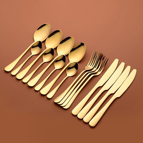 Gold Cutlery Set Forks Knives Spoons Stainless Steel Cutlery Tableware Set Golden Dinner Set Complete Dinnerware Gold Spoon New