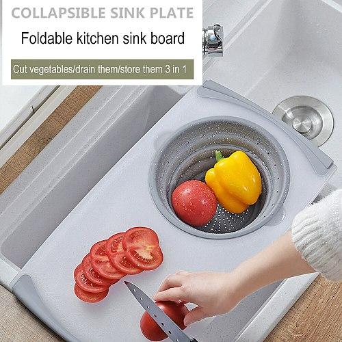 3 In 1 Multi-Function Food Tray Sink Drain Basket Cutting Board Filter Chopping Blocks Meat Vegetable Fruit Basket Storage