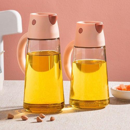 550ML 650ML Automatic Oil Bottle Dispenser Container Oil Vinegar Pot Dispenser Creative Sauce Bottle Gravy Boat Kitchen Tool
