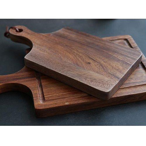 Solid Wood Pizza Steak Toasted Breadboard Fruit Vegetable Meat Cutting Board Non-Slip Thicken Chopping Board (Size L, Picture 1)