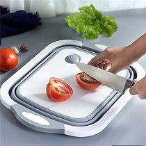 Collapsible Chopping Block Foldable Cutting Board Kitchen Silicone Cutting Board Fruit Washing Basket With Draining Plug Basin