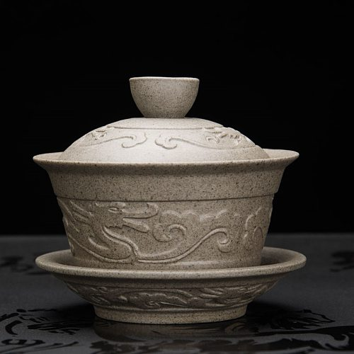 newly listed crude pottery gaiwan dragon relief handmade carved porcelain tureen covered bowl on sales Chinese tea set cup bowls