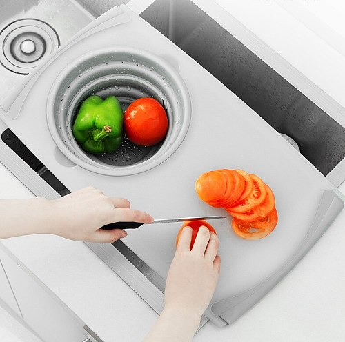 Multifunction Chopping Board With Drain Basket Filter Kitchen Stuff  Vegetable Cutting Board With Storage Drawer Chopping blocks