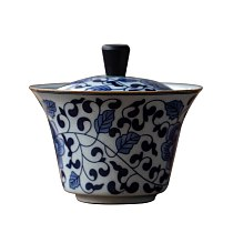 Vintage Tea Tureen Ceramic Gaiwan 130ml Chinese Kung Fu Tea Set Teaware Master Tea Cup Blue and White Porcelain Tea Bowl Decor