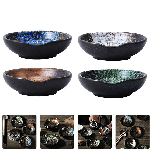 4pcs Japanese Style Ceramic Dipping Plates Sauce Vinegar Saucer Seasoning Dishes (Assorted Color)