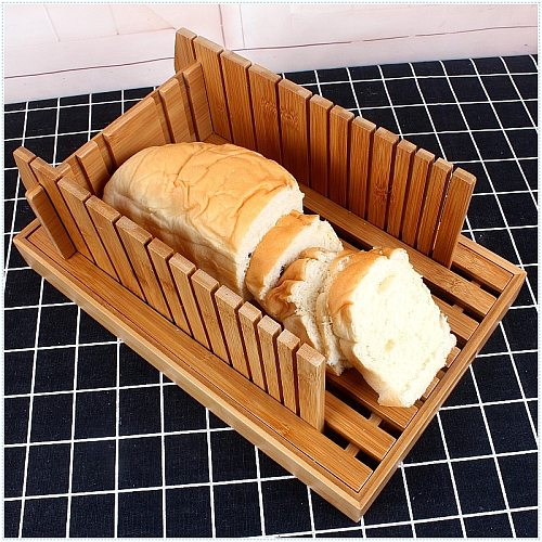 Creative Bamboo Bread chopping board With bottom Easy to cut bread dessert Bread slice board Bread tray Kitchen supplies
