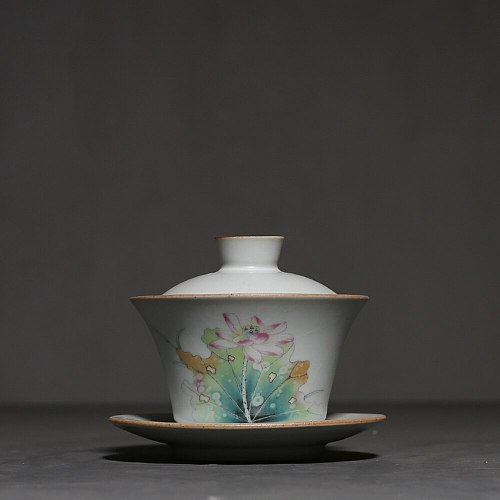 140ml Retro Ru Kiln Porcelain Gaiwan Chinese Kung Fu Tea Tureen Ceramic Bowl with Lid Household Teacup Teapot Master Cup Teaware