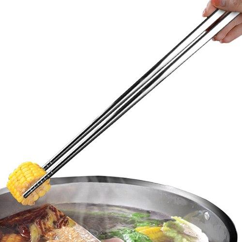 Stainless Steel Chopsticks Household Tableware Noodle Chopsticks Hot Pot Fried Dough Sticks Long Sushi Chopsticks Chinese Style