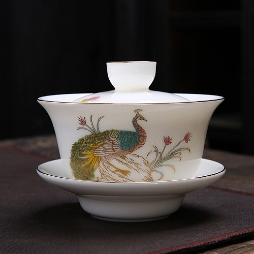 Peacock Tea Tureen Ceramic Porcelain Tea Bowl with Lid and Saucer Kit Master Cup Kung Fu Teaware Upscale Creative Cups 160ml