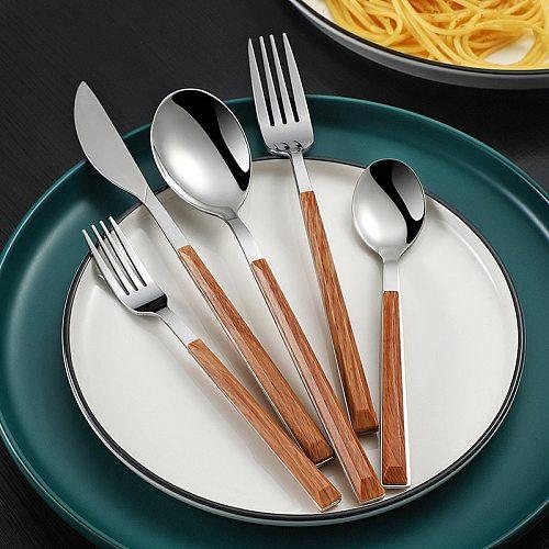 Stainless Steel Tableware Glossy Wood Silver Color Dinnerware Sets Western Food Knife Fork Spoon Teaspoon Flatware Cutlery Set