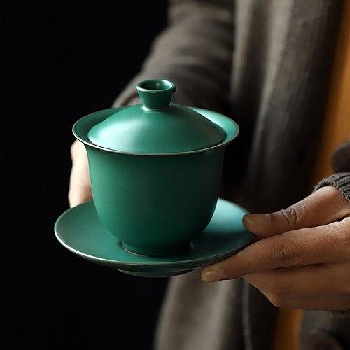 5oz Ceramic Tureen Green Porcelain Tea Cup with Cover Tea Bowl Lip Saucer Sancai Kung Fun Tea Set Teaset Coffee Puer Office Gift