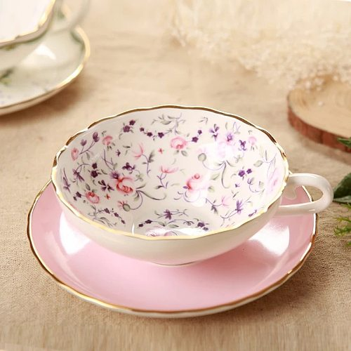 China Coffee Cup Set Fruit Pattern of High-grade Ceramic Cups Creative Porcelain Cup and Saucer Ceramics Simple Tea Sets