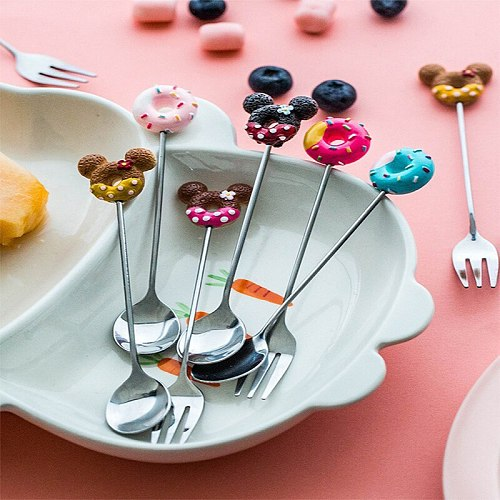 Creative Doughnut Fork Spoon Knife Set Fruit Fork Stainless Steel Coffee Spoon Tea Sala Cake Fork Wedding Birthday Party Supply