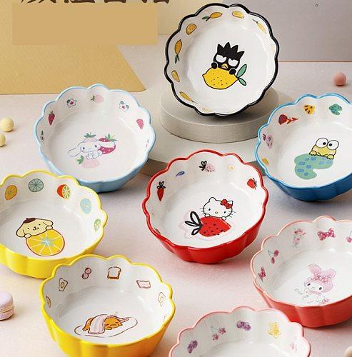 Fruits salad bowl Kitty Cartoon ceramics Bowl breakfast bowl Bowl Dessert bowl Children tableware Kitchen Household Dinnerware