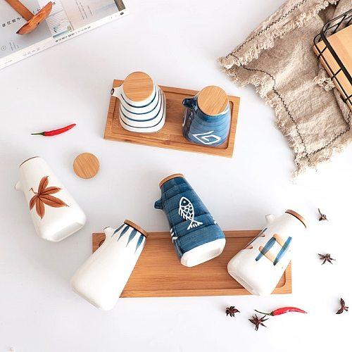 Japanese Style Oil Vinegar Sauce Pot Dispenser Soy Bottle Tank Ceramic Gravy Boat Seasoning Pepper Spices Jar Kitchen ToolsLA169