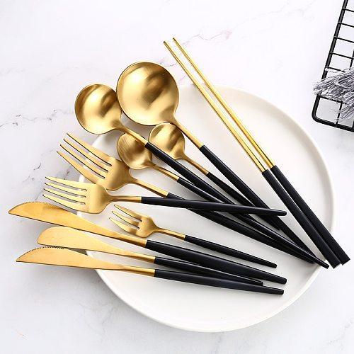 Black Gold Cutlery Set Steak Knife Fork Coffee Spoon Teaspoon Dessert Knife Ice Spoon Chopsticks Stainless Steel Dinnerware Set