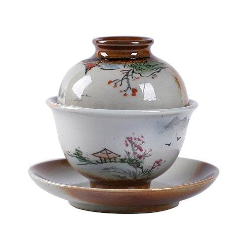 50ml Tea Bowl Ceramic Gaiwan Vintage Tea Tureen Jingdezhen Handmade Porcelain Teapot Teaware Container Master Cup Decoration