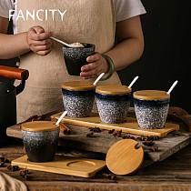 FANCITY Japanese ceramic seasoning pot with spoon cover creative seasoning box bottle water tank shaped oil salt pepper pot fami