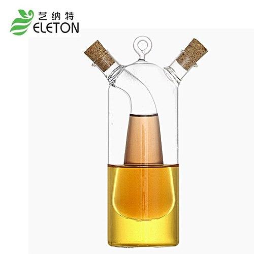 Kitchen supplies glass olive oil bottle kitchen cruet oil and vinegar bottle double oiler bottle stopper glass jar gravy boat