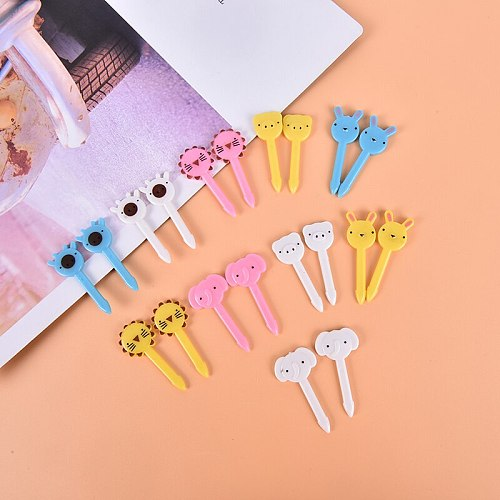 10pcs/set Portable Kids Toothpick Lunches Animal Food Fruit Picks Forks Bento Lunch Box Decor Accessory For Party Decor