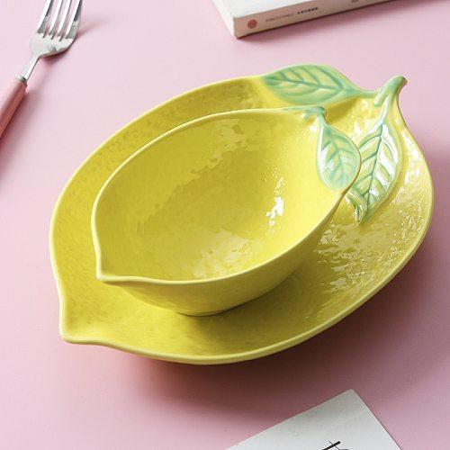 Lemon Shaped Plate Ceramic Dinner Rice Bowl Cute Snack Salad Disc Household Tableware Personality Creative Plate Breakfast