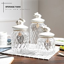 Nordic Style Glass Sugar Bowl Seasoning Can with Creative Rabbit Lid Home Kitchen Spice Storage Jar Supplies