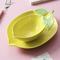 Lemon shaped plate ceramic dish plate rice bowl cute bowl household tableware personalized creative breakfast dinner plates