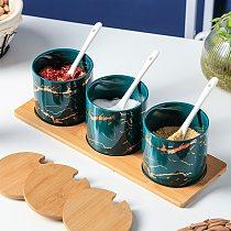 Marble Design Ceramic Seasoning Jar Condiment Bottle Set Spice Jar Salt Container Sugar Bowl Kitchen Seasoning Tools