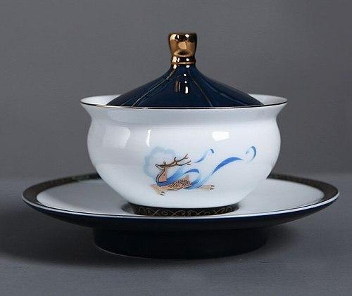 Blue and white gaiwan Ceramic cover bowl tea set tureen tea porcelain pot set travel Beautiful kettle 165ml