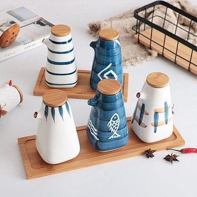 Japanese Style Oil Vinegar Sauce Pot Dispenser Soy Bottle Tank Ceramic Gravy Boat Seasoning Pepper Spices Jar Kitchen Tools